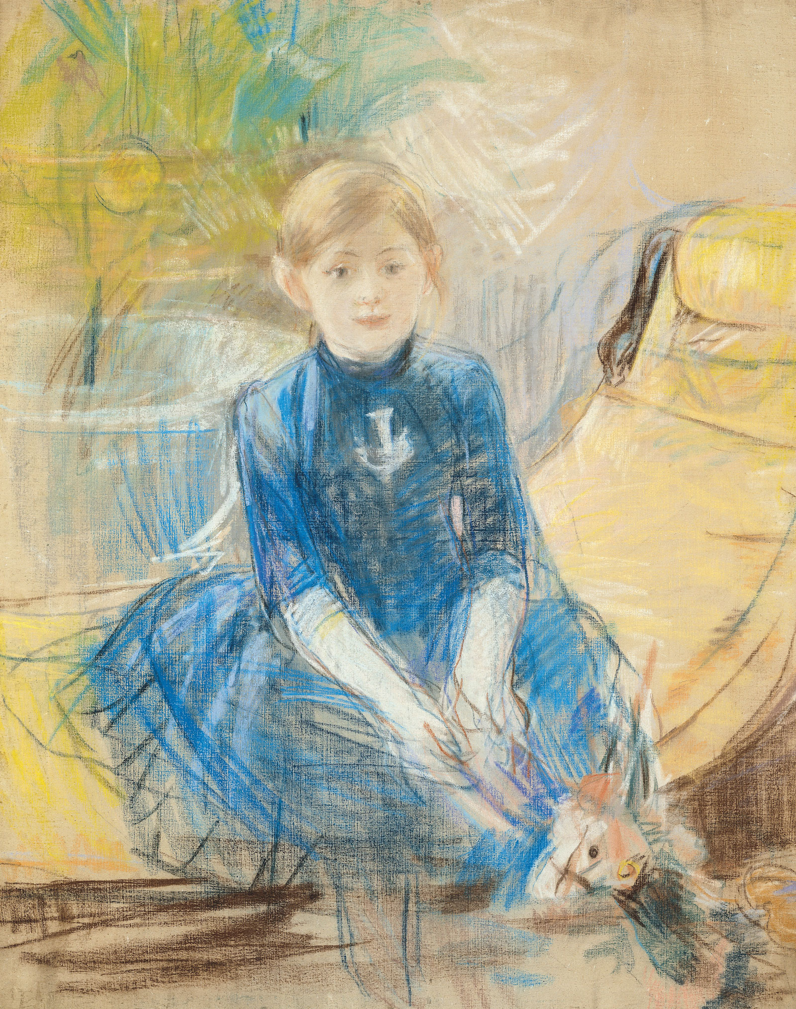 Painting of a girl in a blue dress sitting on a yellow chair