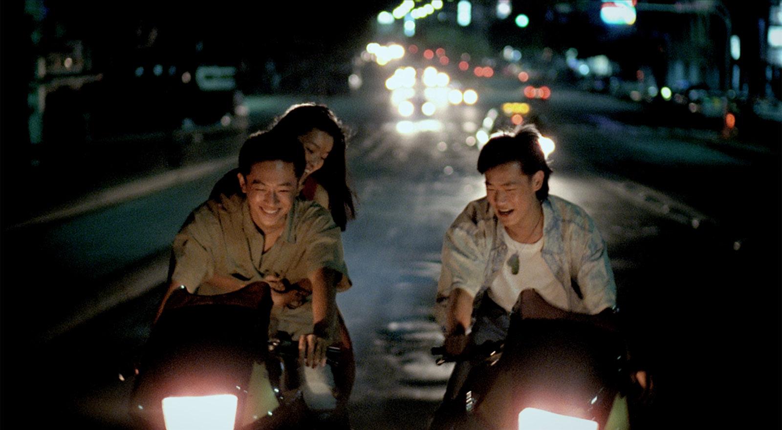 Chen Chao-jung, Jen Chang-bin, and Wang Yu-wen in Tsai Ming-liang's Rebels of the Neon God