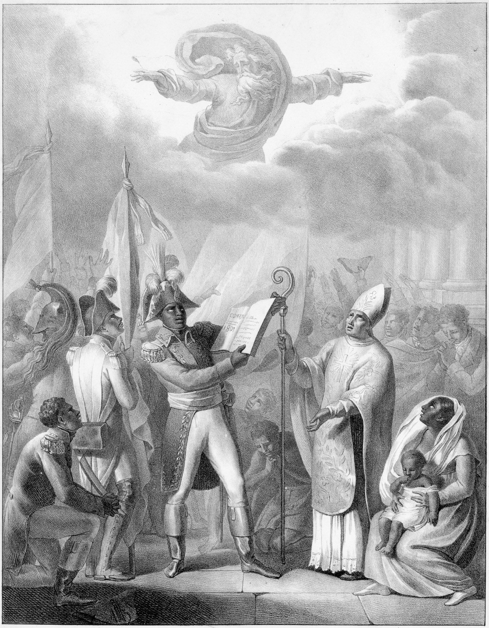 Lithograph of Toussaint Louverture proclaiming the Constitution of the Republic of Haiti