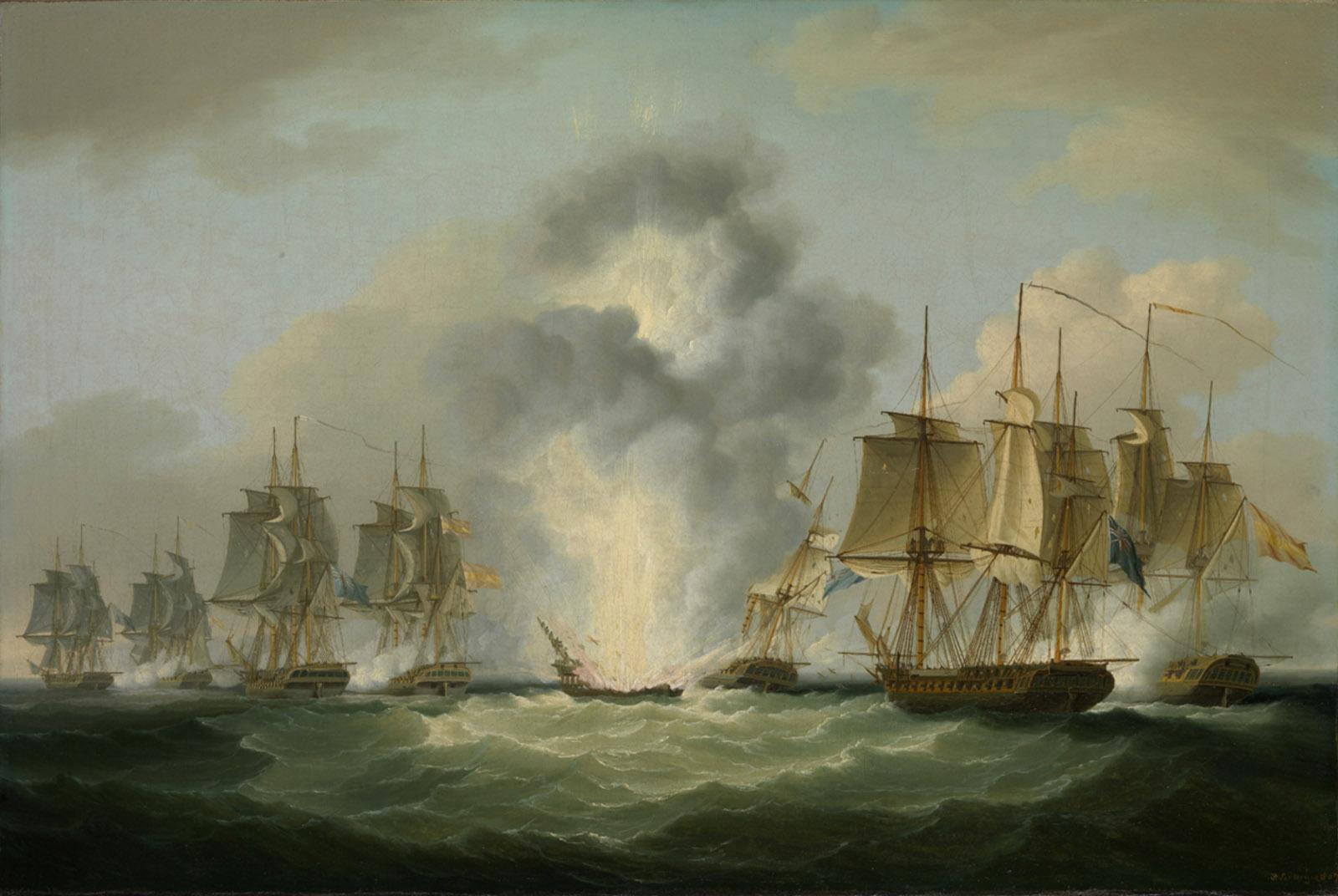 Painting of four British frigates capturing Spanish treasure ships off Cape Santa Maria, Portugal, 1804