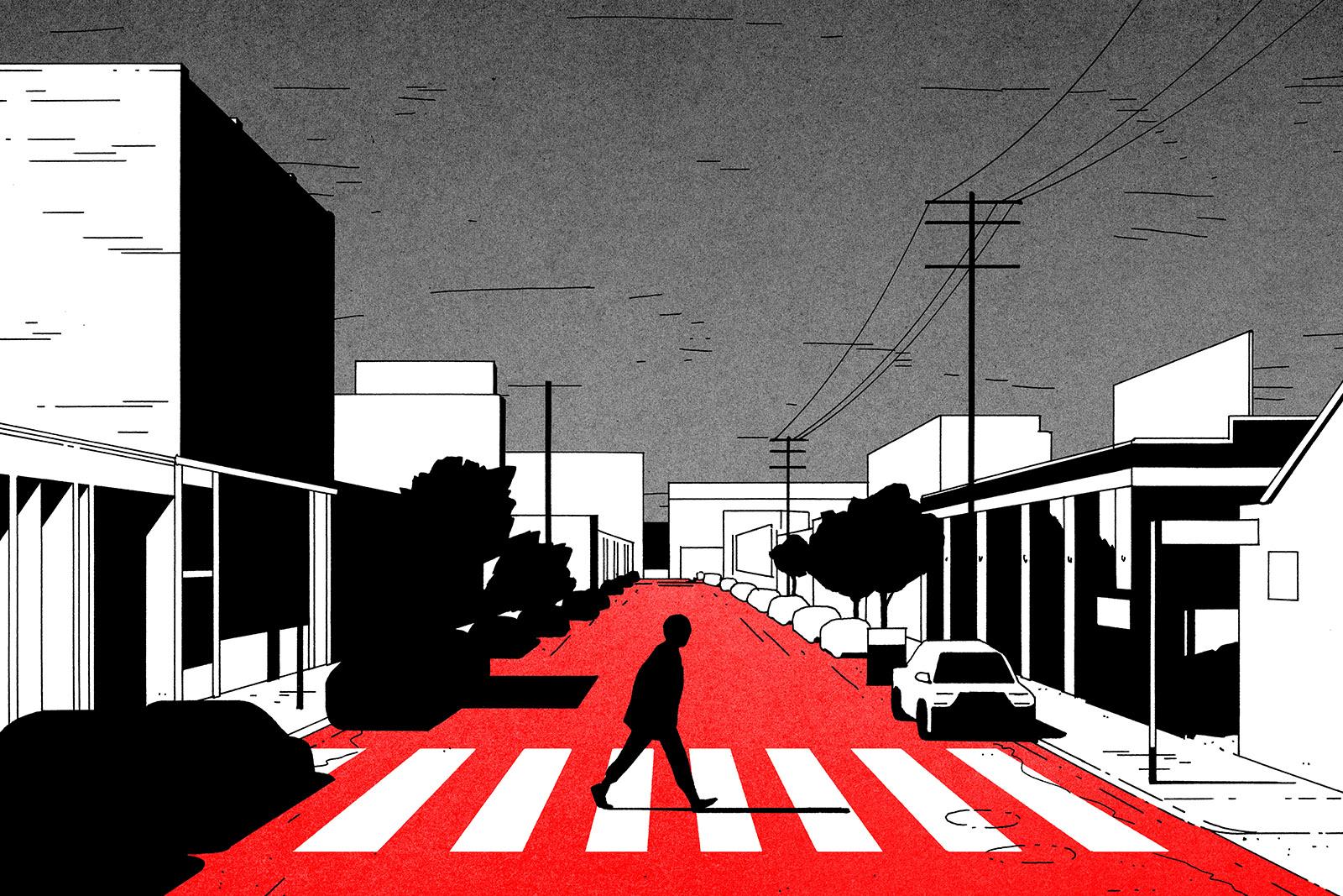 Illustration of a man walking across a crosswalk