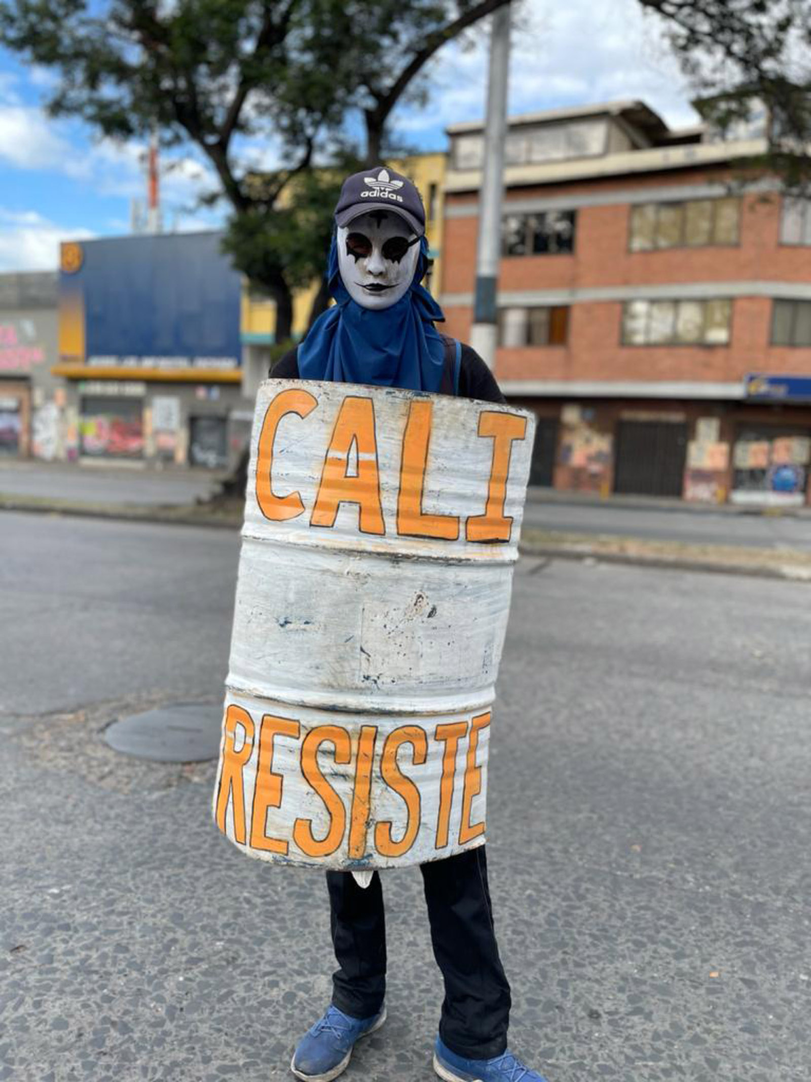 A demonstrator during antigovernment protests, Cali, Colombia, May 2021