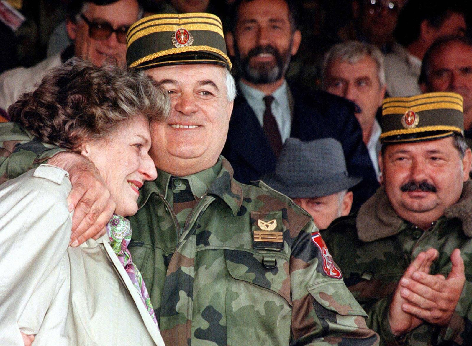 Biljana Plavšić, president of Republika Srpska, with Srpska army commander Momir Talić