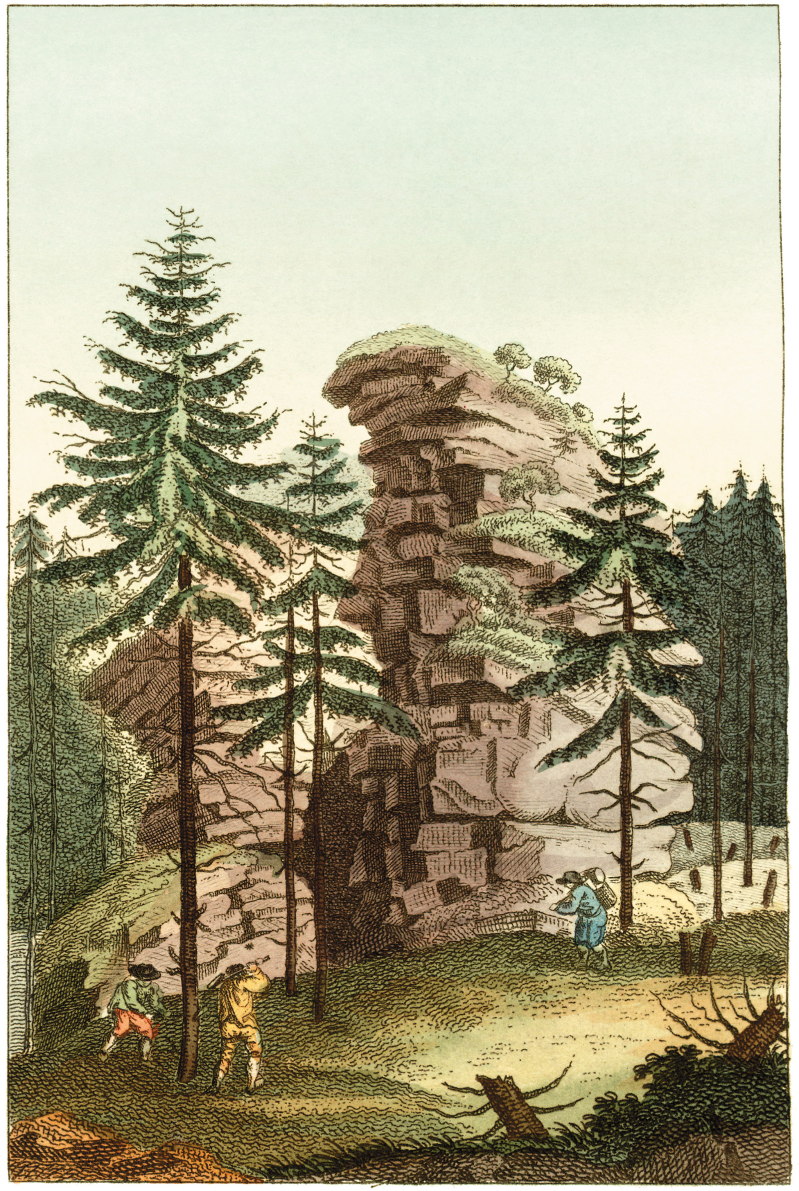 Illustration of a view of the Harz Mountains