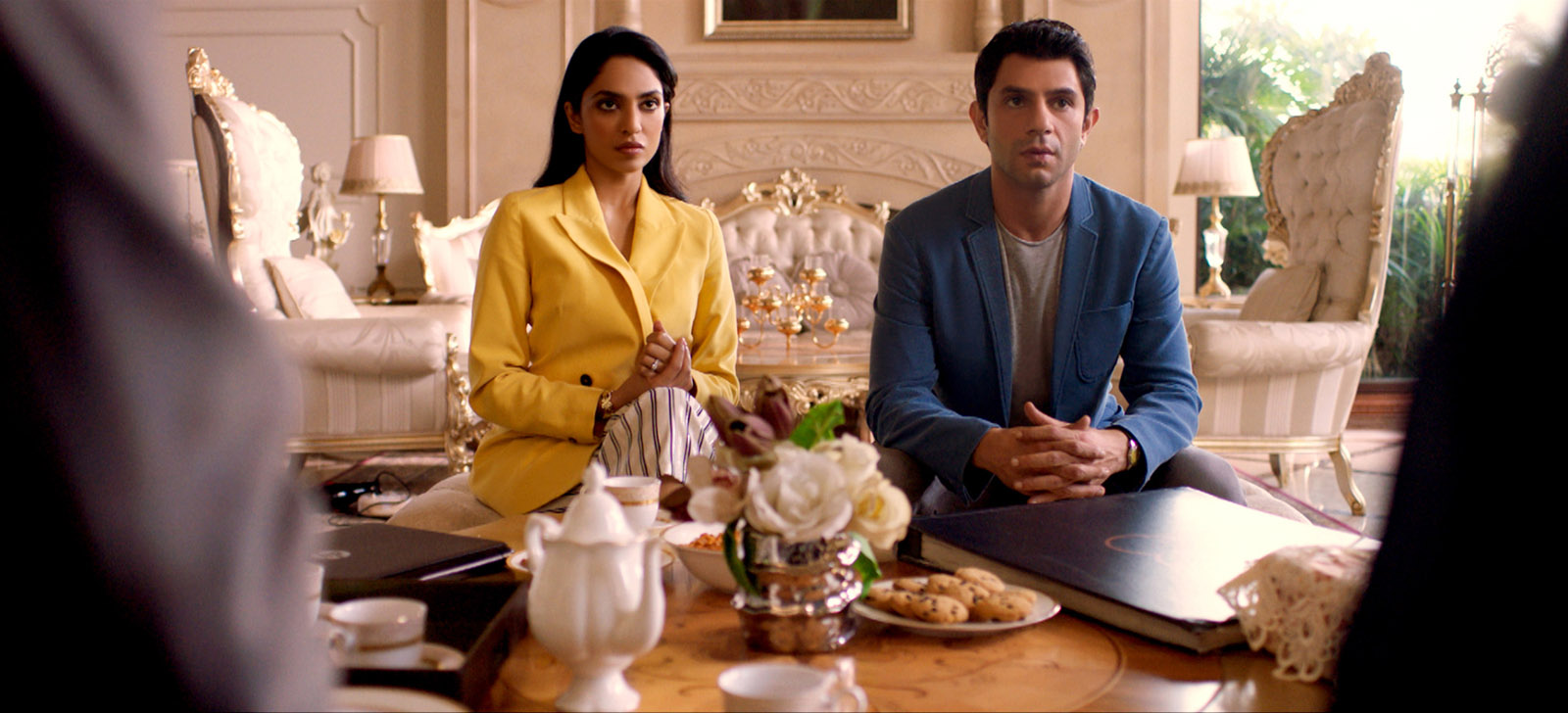 Sobhita Dhulipala as Tara Khanna and Arjun Mathur as Karan Mehra in Made in Heaven