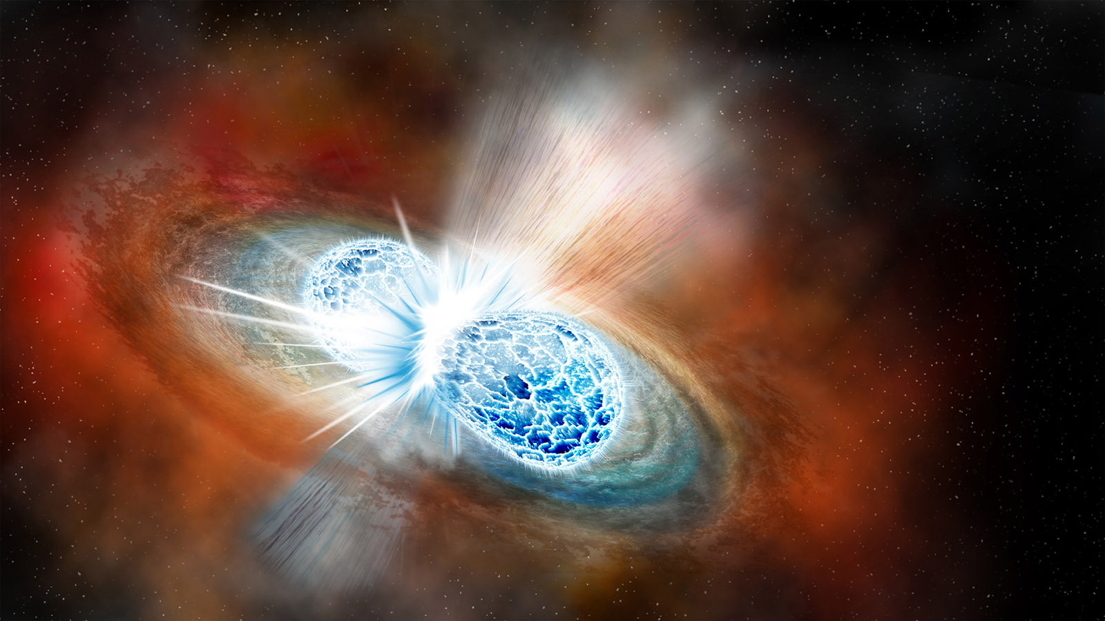 A rendering of the collision between two neutron stars, observed by researchers working with the LIGO and Virgo gravitational wave detectors