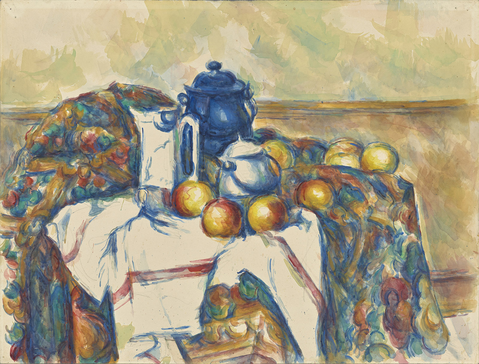 Still Life with Blue Pot; painting by Paul Cézanne