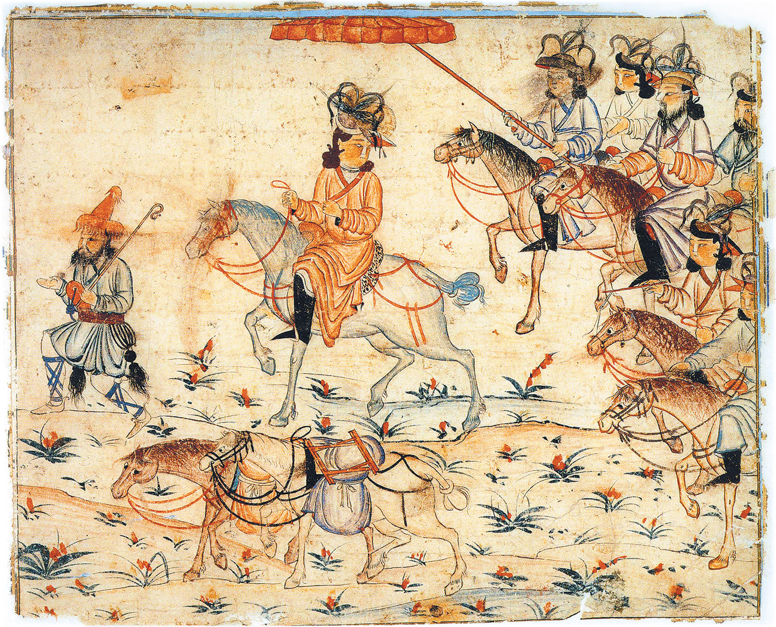 A Mongol khan on campaign; illustration from the Jamiʿ al-tawarikh