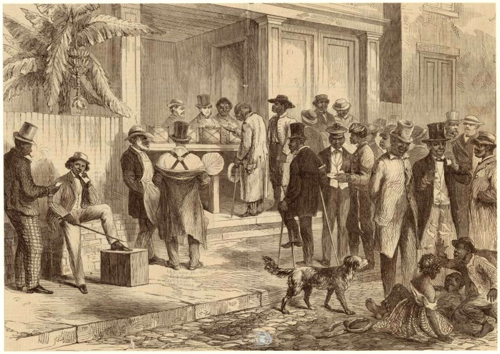 Engraving of freedmen voting in New Orleans, 1867