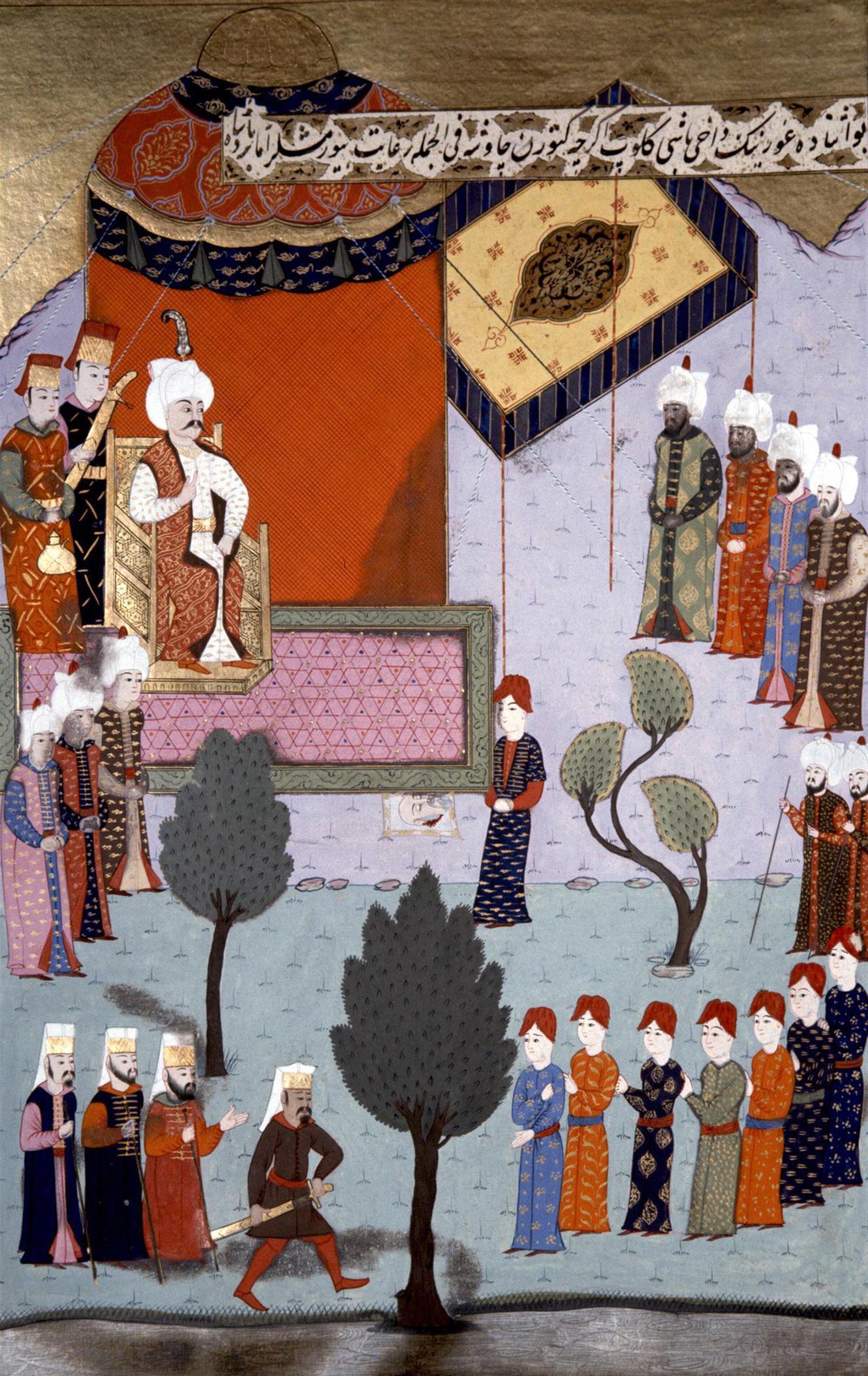 Illustration of Selim I receiving the severed head of the Mamluk sultan Qansuh al-Ghawri; sixteenth-century