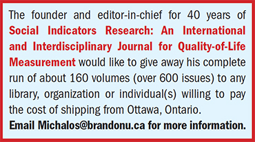 Ad for Social Indicators Research Journal