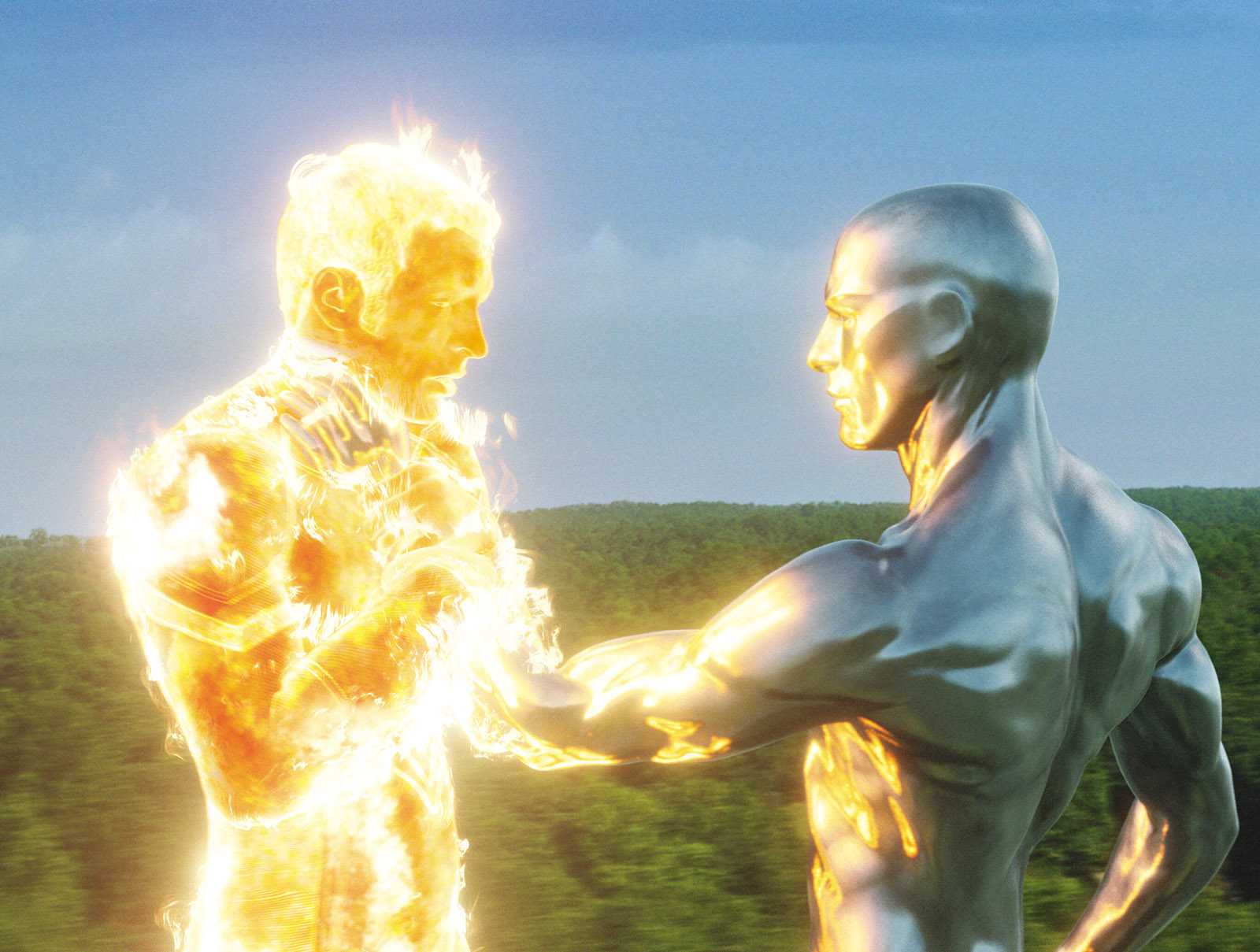 and Doug Jones as the Silver Surfer in Fantastic Four: Rise of the Silver Surfer
