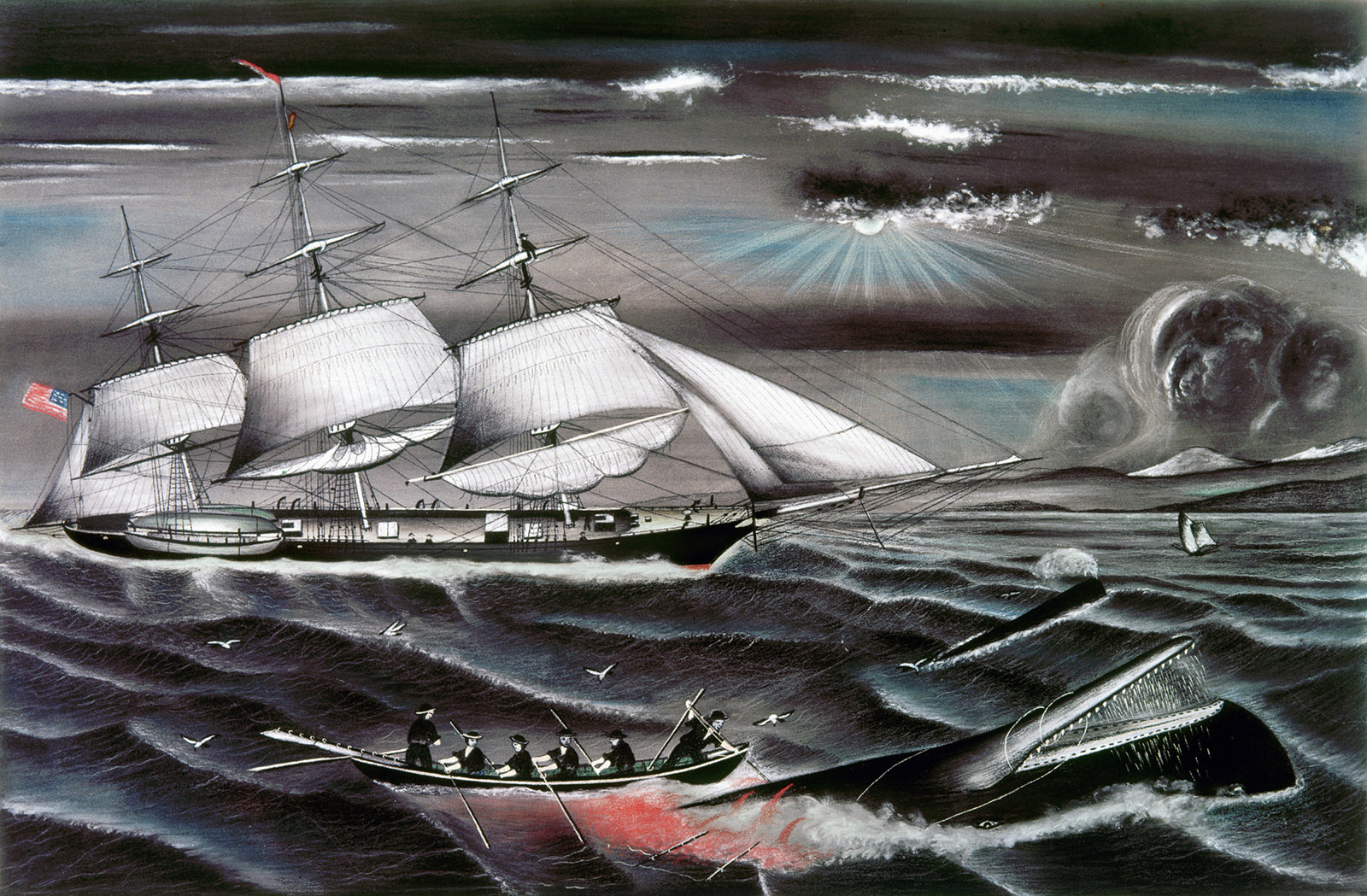Whaling Off the Coast of California; a chalk drawing