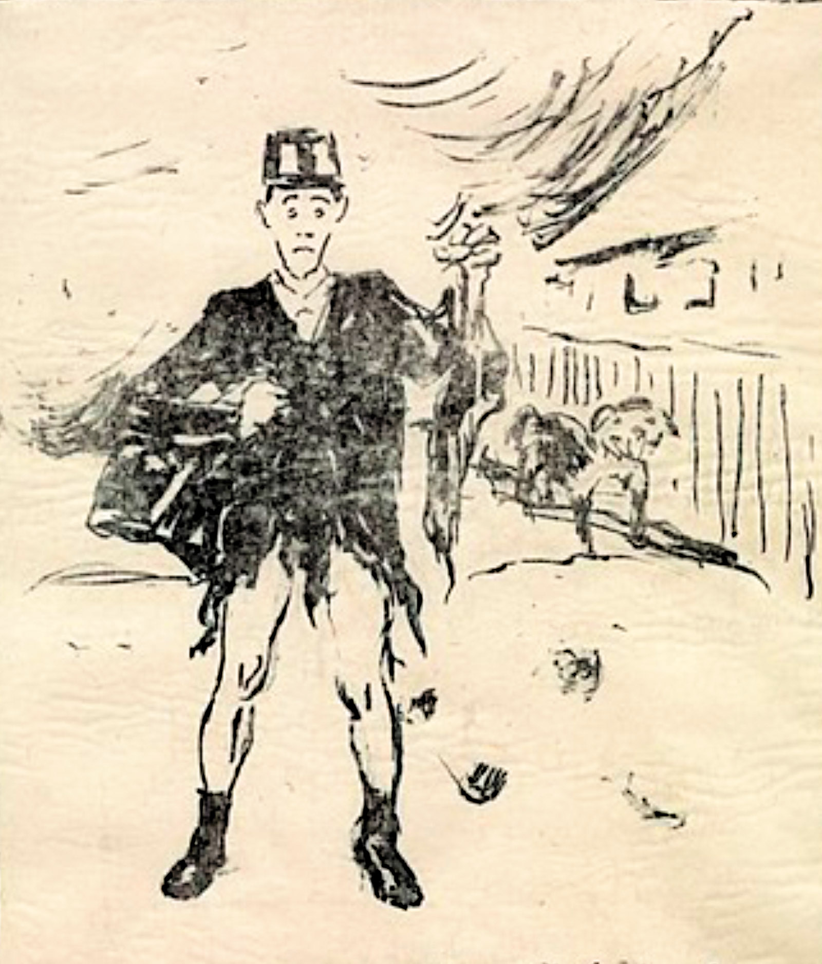 The Dog Attacking the Postman; illustration by Edvard Munch