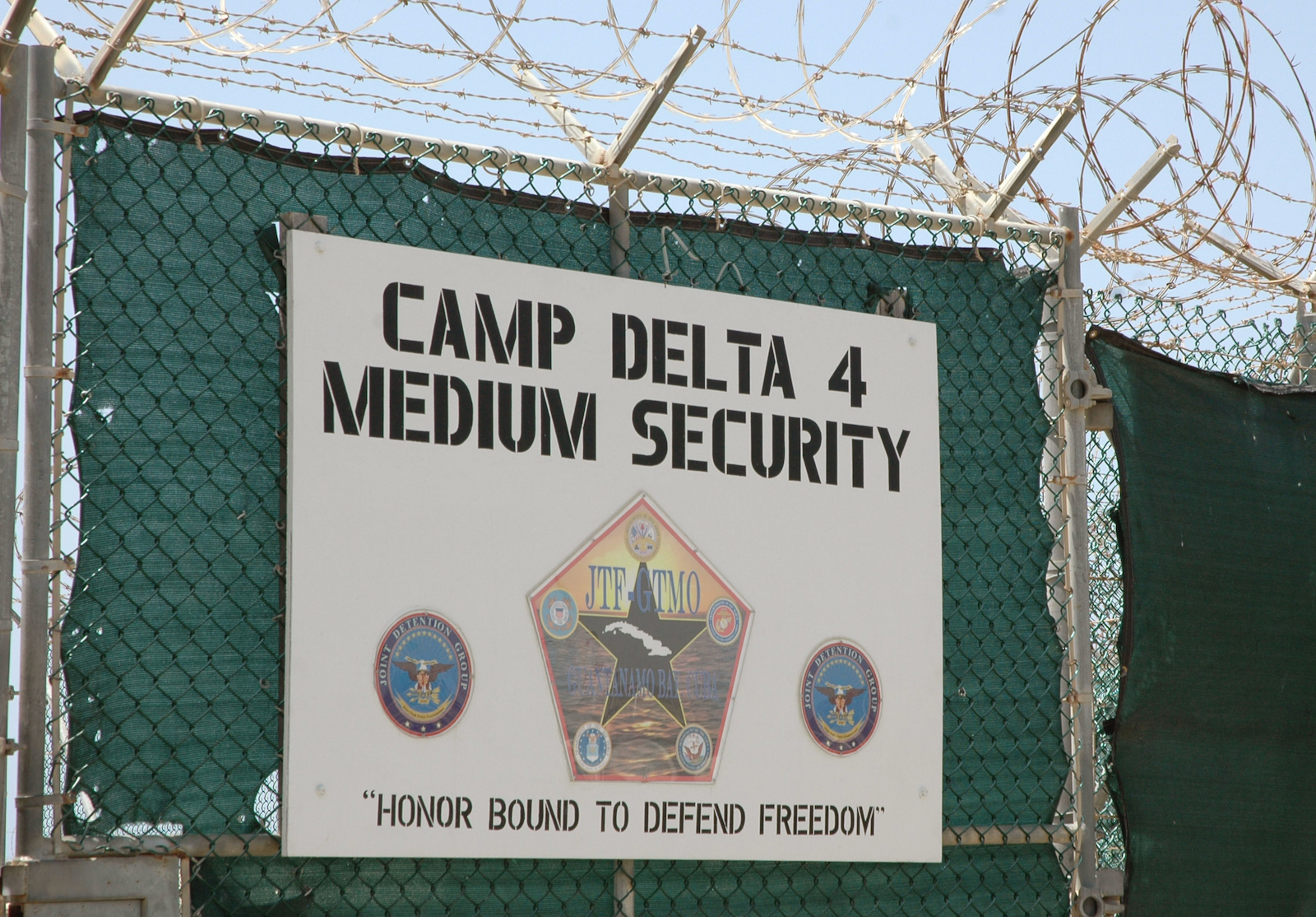 Entrance sign at the Guantánamo Bay detention center, Cuba