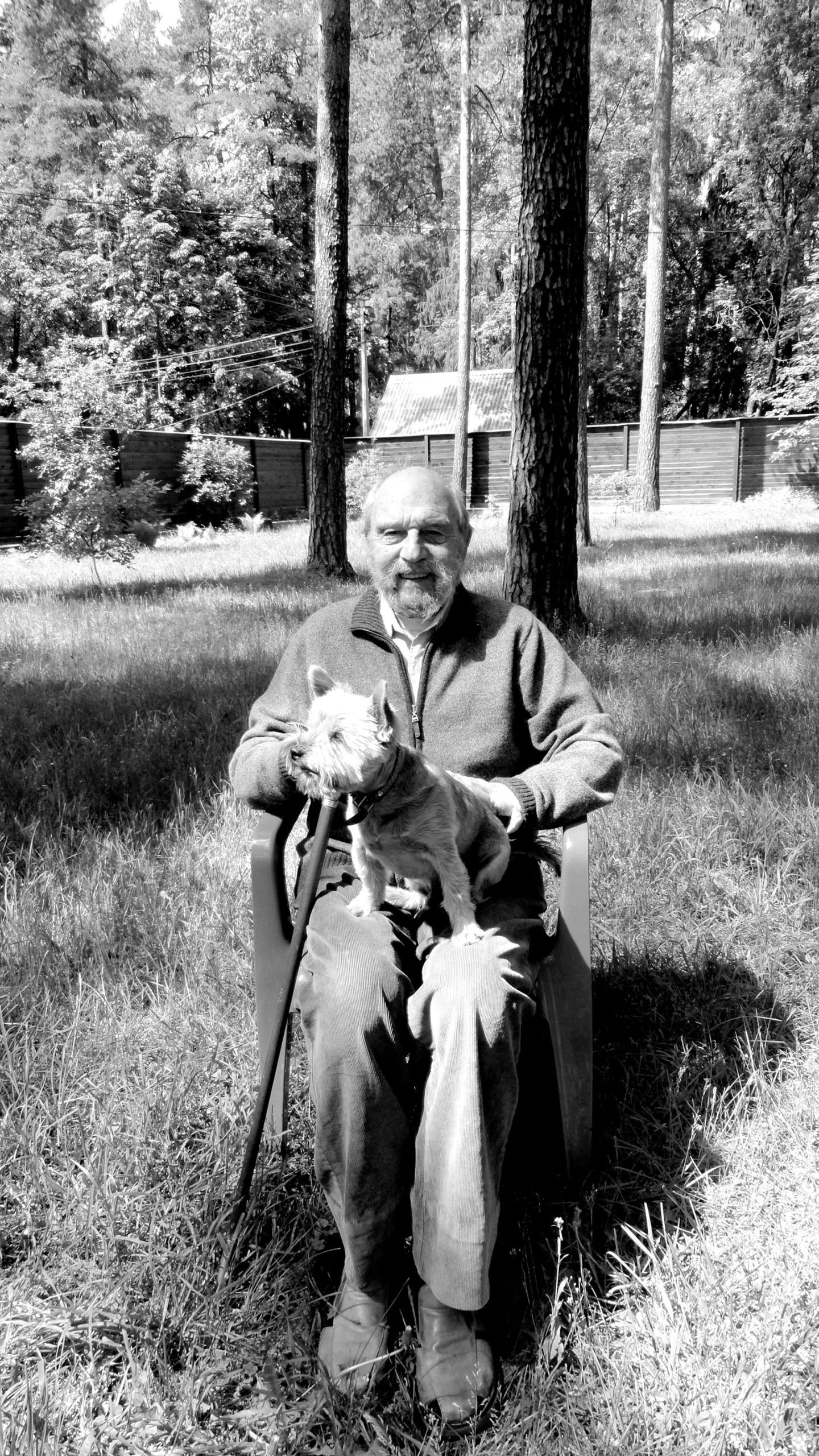 George Blake and his dog, Lyusha