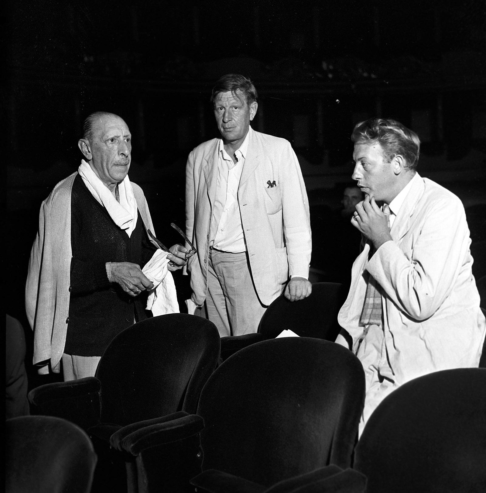 Igor Stravinsky, W.H. Auden, and Chester Kallman at a rehearsal of The Rake's Progress, Milan, August 1951