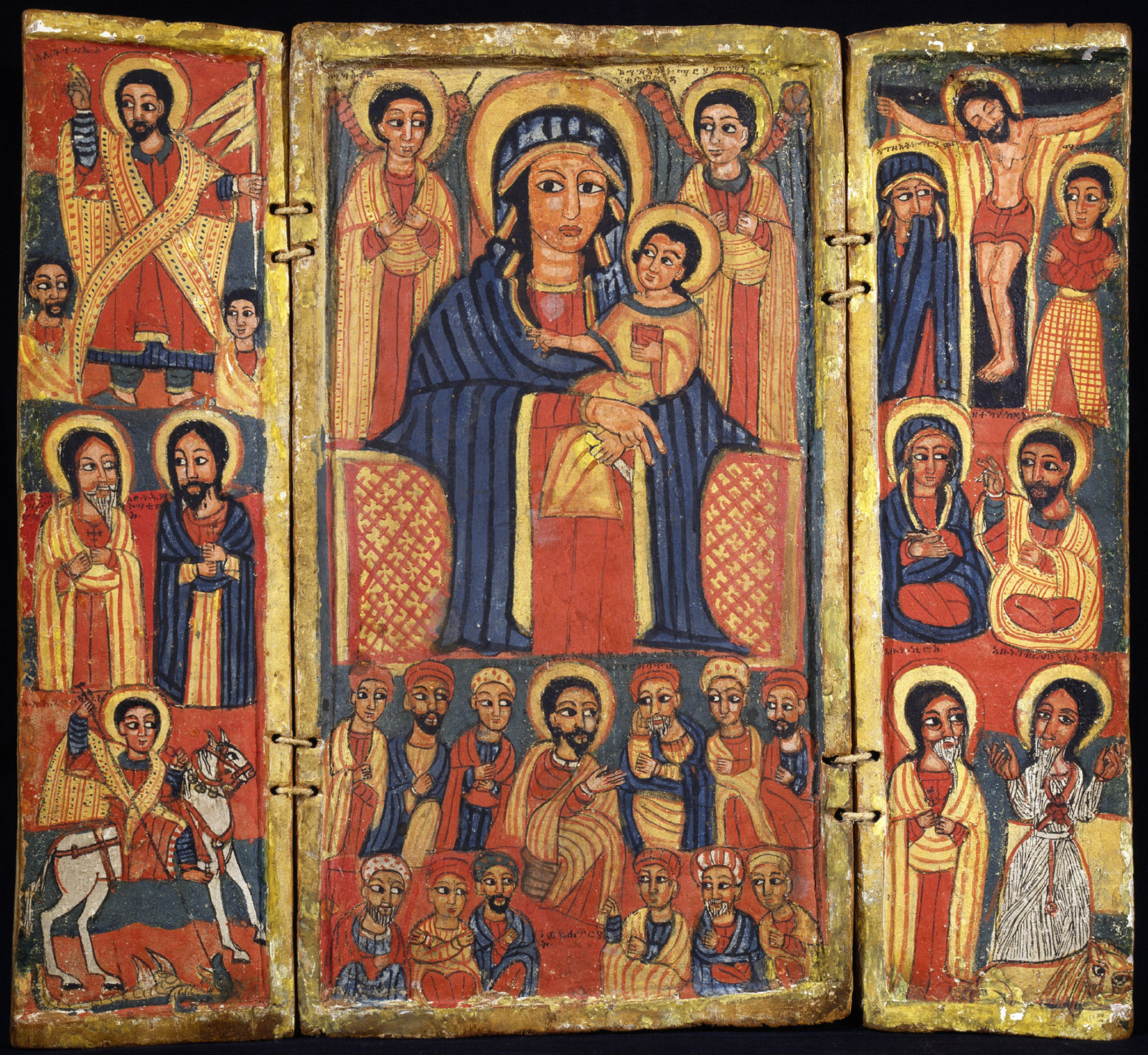 A triptych depicting Jesus, the Apostles, and Saint George and the dragon; Mary with Jesus and the Last Supper; and crucified Jesus and the Apostles, Ethiopia