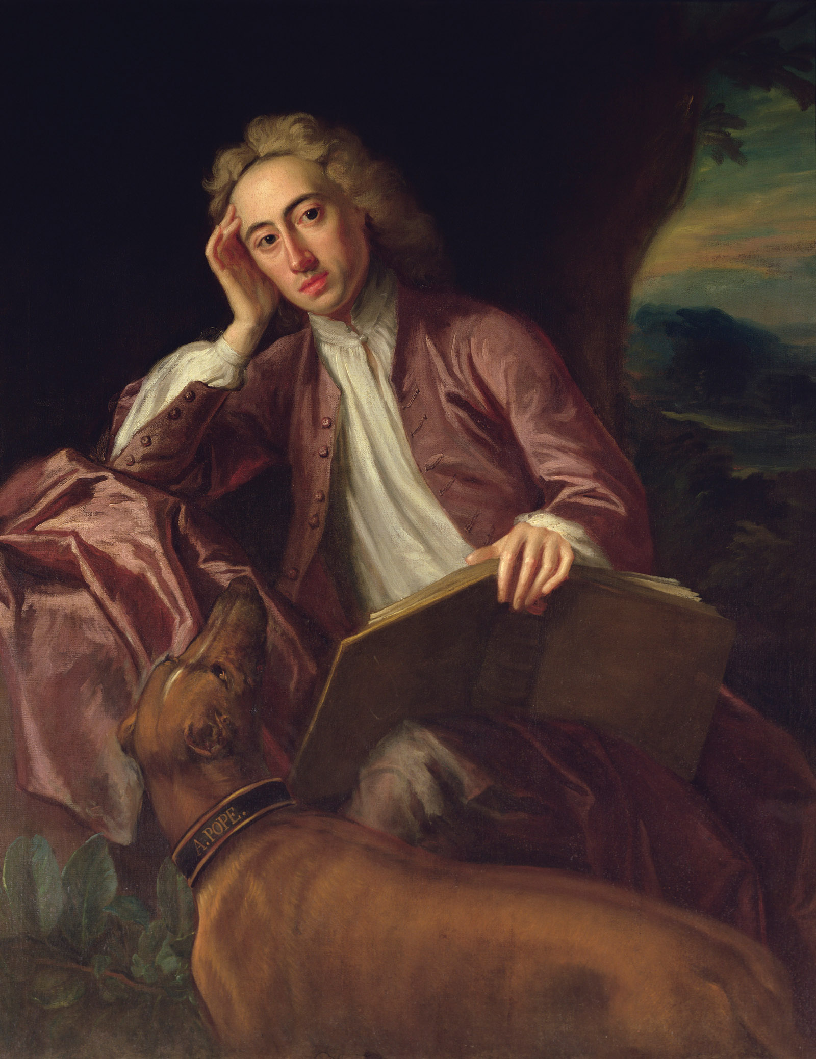 Alexander Pope and His Dog, Bounce; painting by Jonathan Richardson