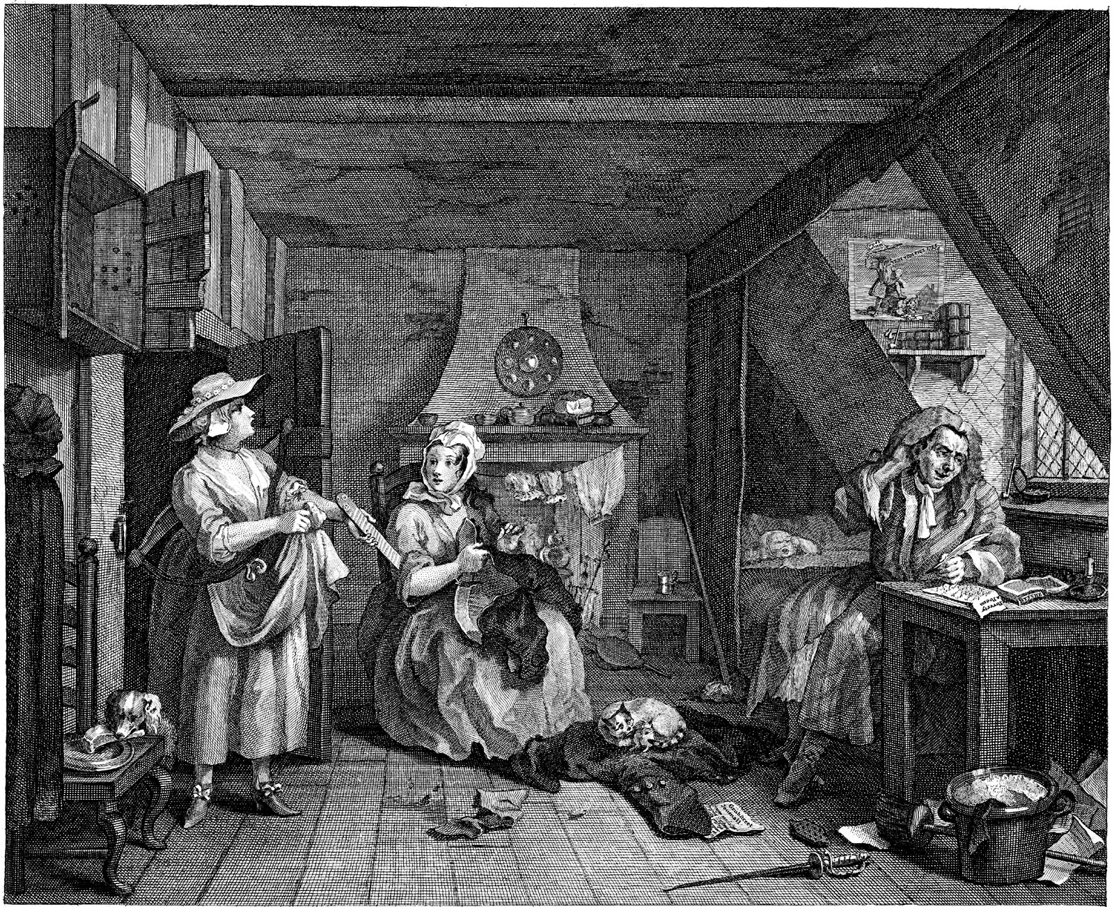 'The Distressed Poet'; engraving by William Hogarth. Hanging above the writer is a satirical print showing Alexander Pope fighting with Edmund Curll
