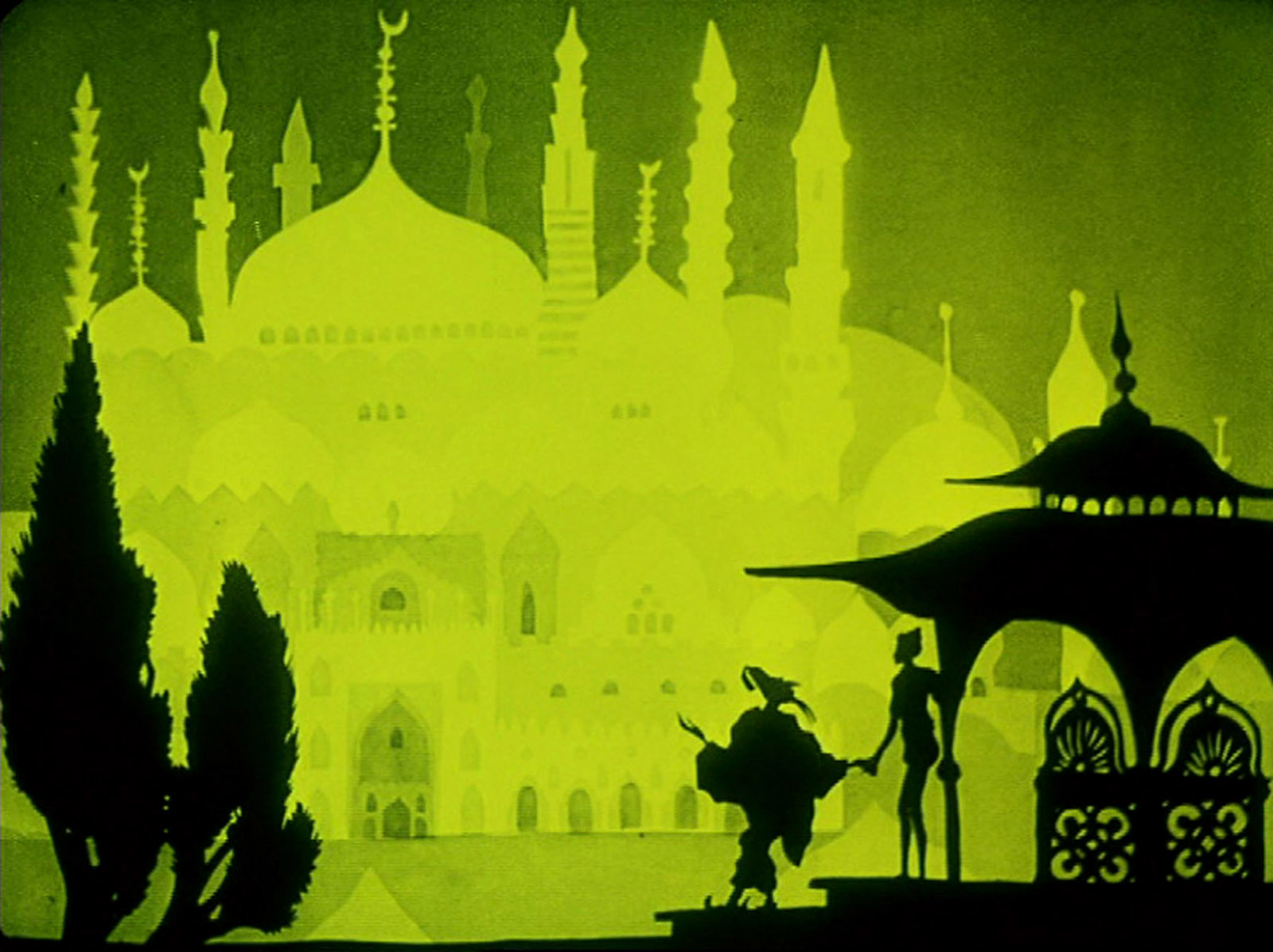 A still from Lotte Reiniger's The Adventures of Prince Achmed