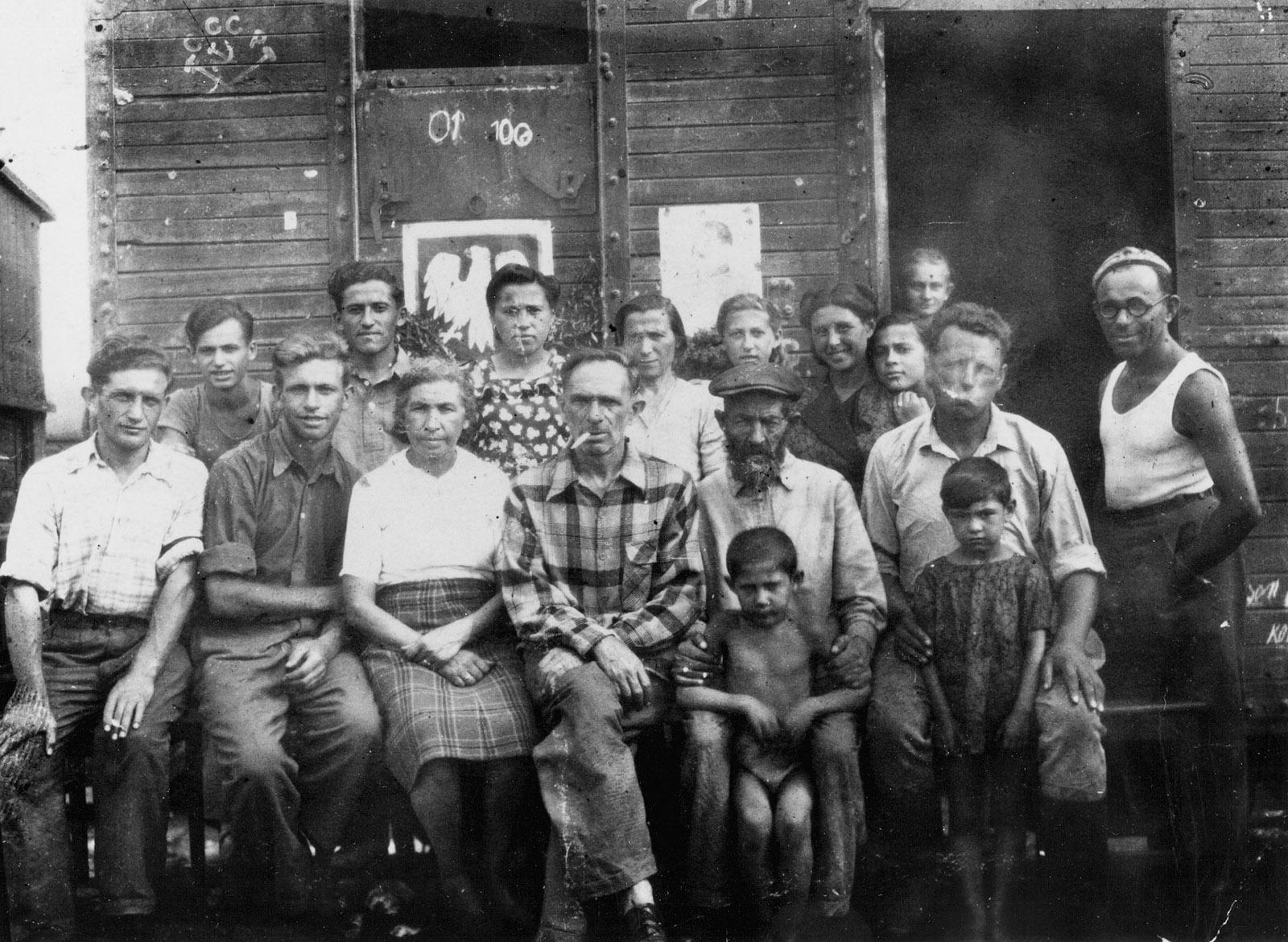 Polish Jews waiting to board a repatriation train, Kazakhstan