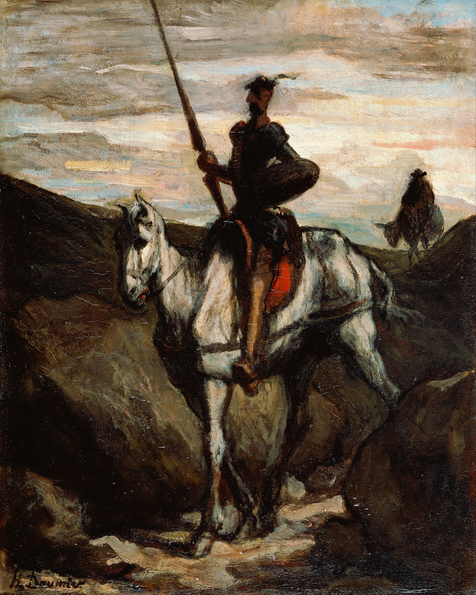 Don Quixote in the Mountains; painting by Honoré Daumier