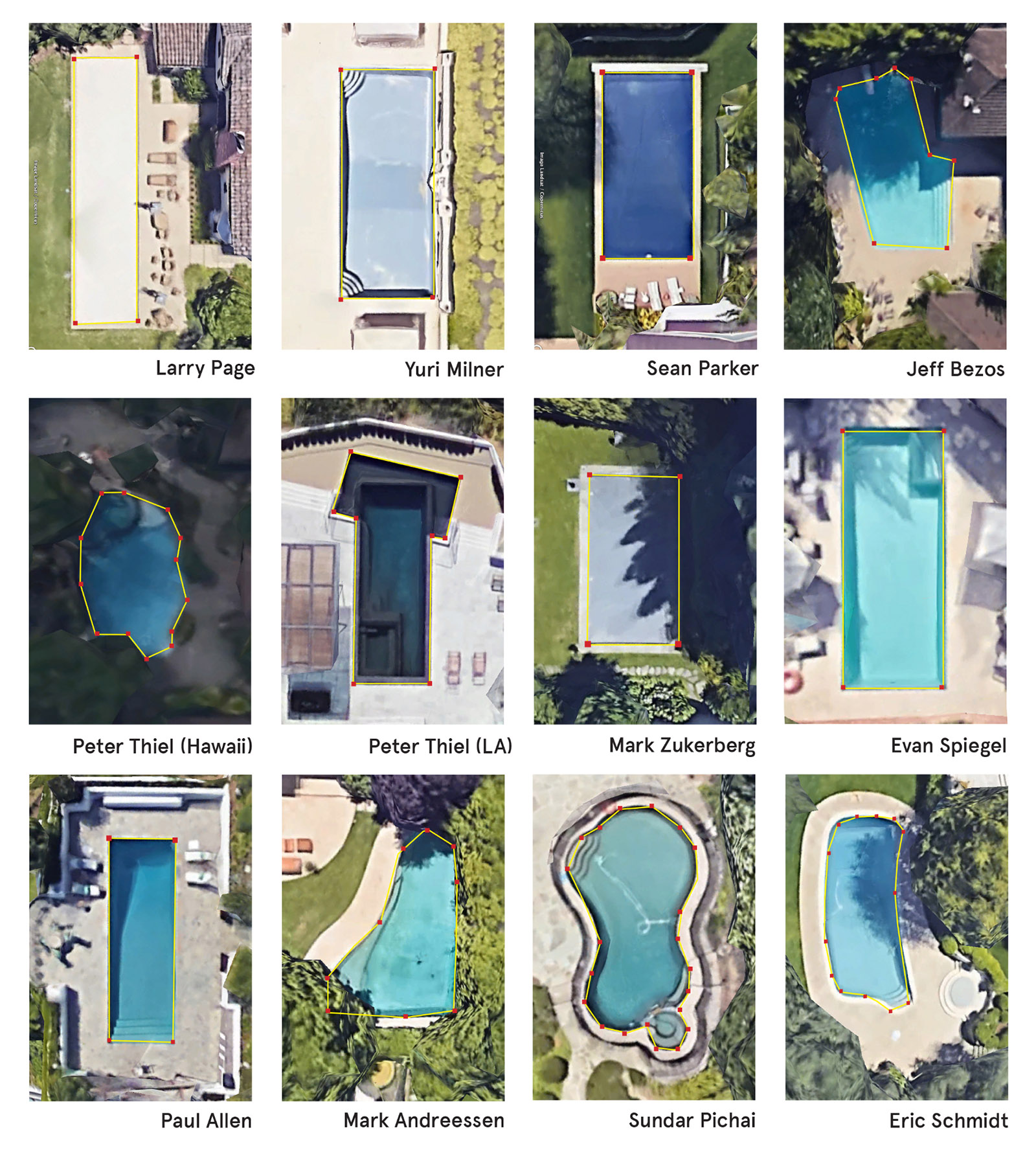 'Data Pools'; a geolocation spoofing project by Adam Harvey and Anastasia Kubrak that virtually relocated people's phones to the pools of Silicon Valley CEOs