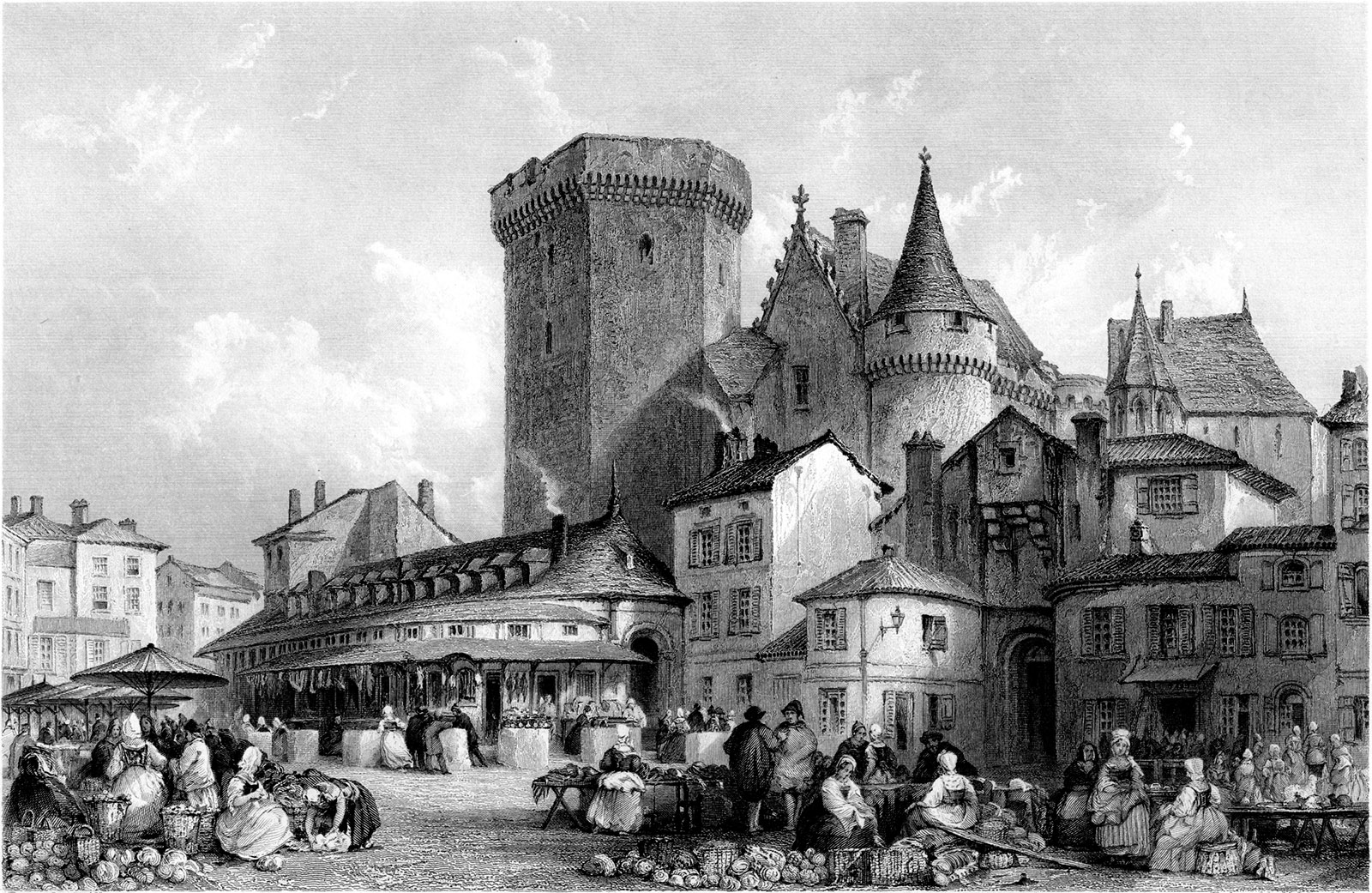 Market Place, Angoulême; engraving by M.J. Starling
