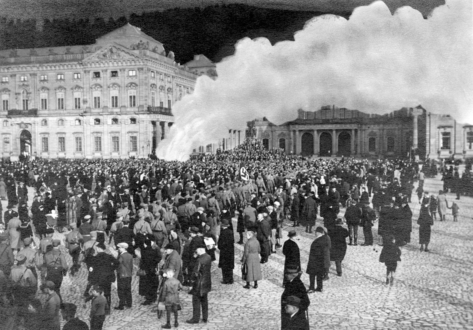 A doctored photograph of a book burning on the Residenzplaz in Würzburg, Germany, 1933
