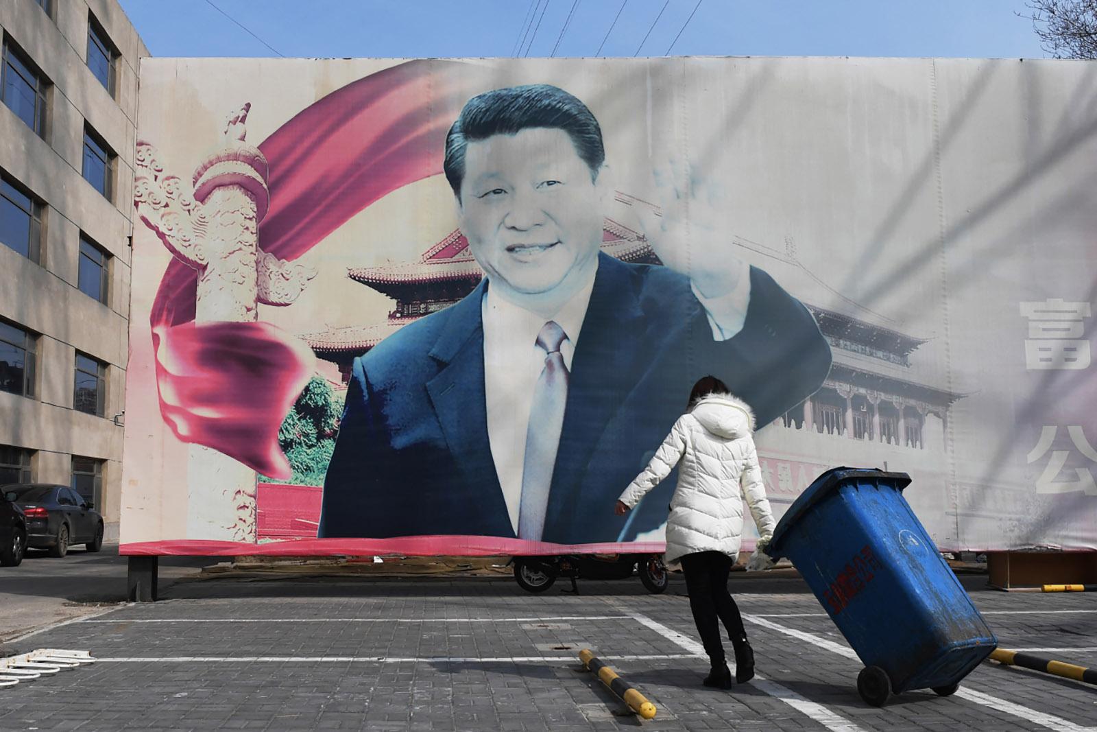 A propaganda poster of President Xi Jinping, Beijing