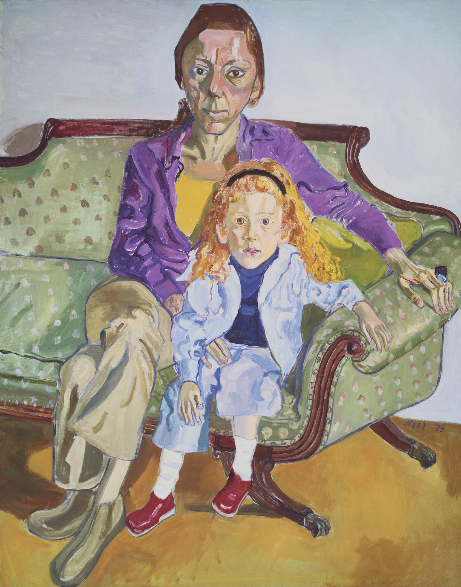 Linda Nochlin and Daisy, 1973 by Alice Neel