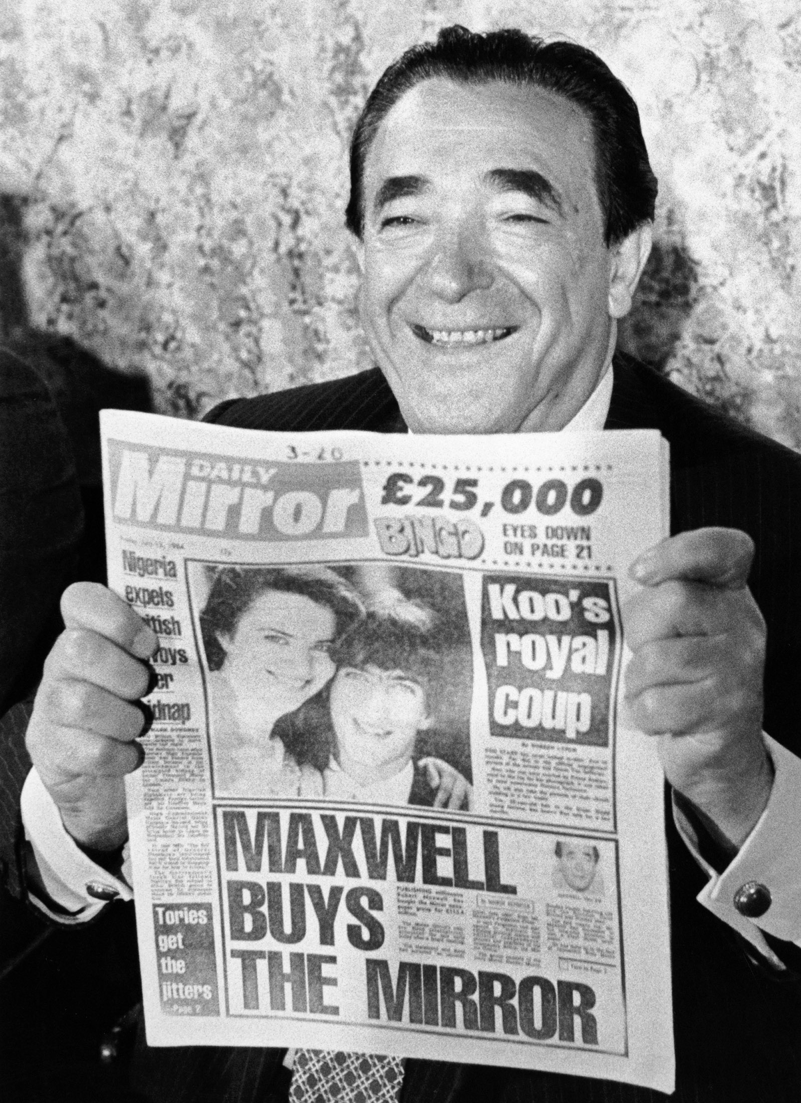 Robert Maxwell announcing his acquisition of Mirror Group Newspapers