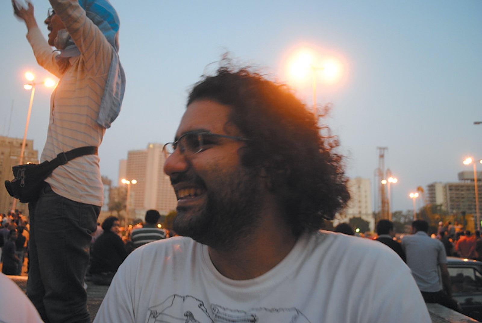 Activist Alaa Abd el-Fattah in Tahrir Square, Cairo
